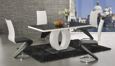 Halo Black Glass White High Gloss Dining Table With 6 Leona Chairs