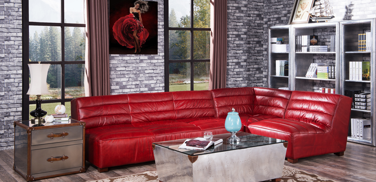 Armless Vintage Leather Corner Sofa