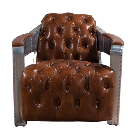 Aviator Chesterfield Buttoned Distressed Vintage Armchair