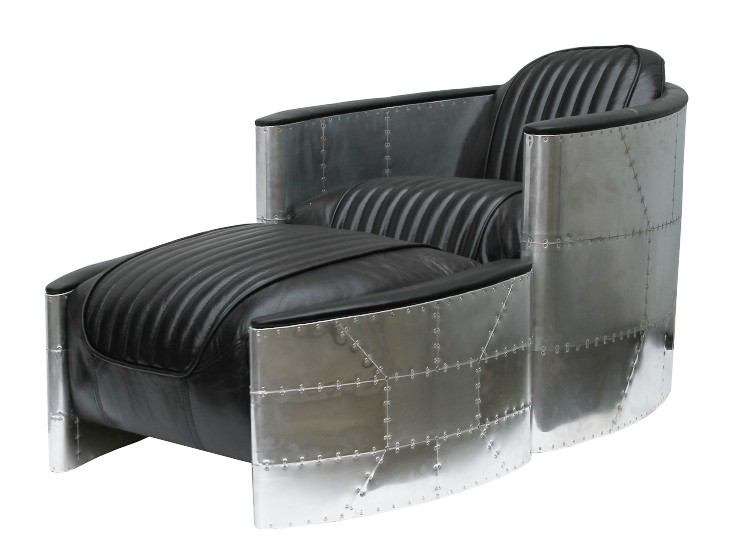Amazing Aviator Pilot Vintage Distressed Black Leather Chair With Footstool Short Links Chair Design For Home Short Linksinfo