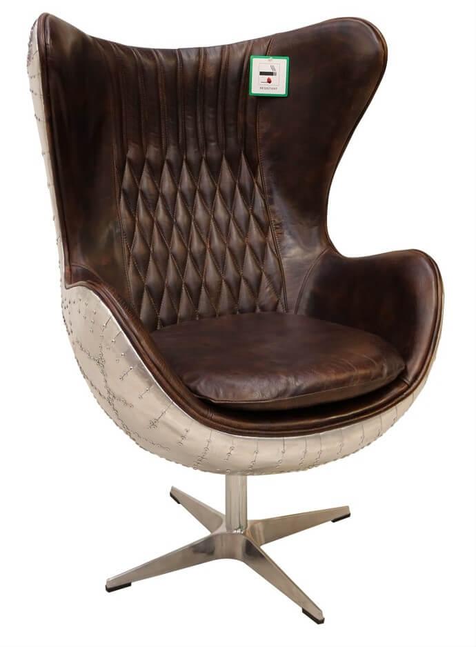 Fine Aviator Retro Swivel Egg Aluminium Distressed Vintage Tobacco Leather Armchair Customarchery Wood Chair Design Ideas Customarcherynet