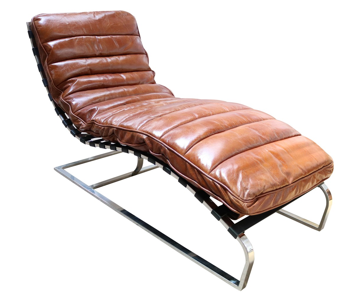 - Bilbao Daybed Vintage Tan Distressed Leather Chaise Lounge