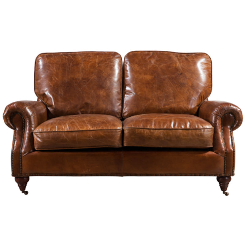 Image of Brooklyn Vintage Distressed Leather 2 Seater Settee Sofa