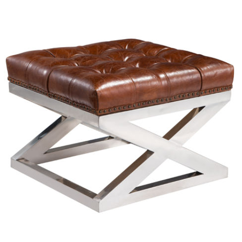Buttoned Distressed Leather Metal Cross Footstool Ottoman