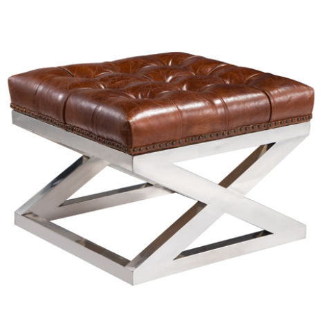 Sensational Buttoned Distressed Leather Metal Cross Footstool Ottoman Short Links Chair Design For Home Short Linksinfo