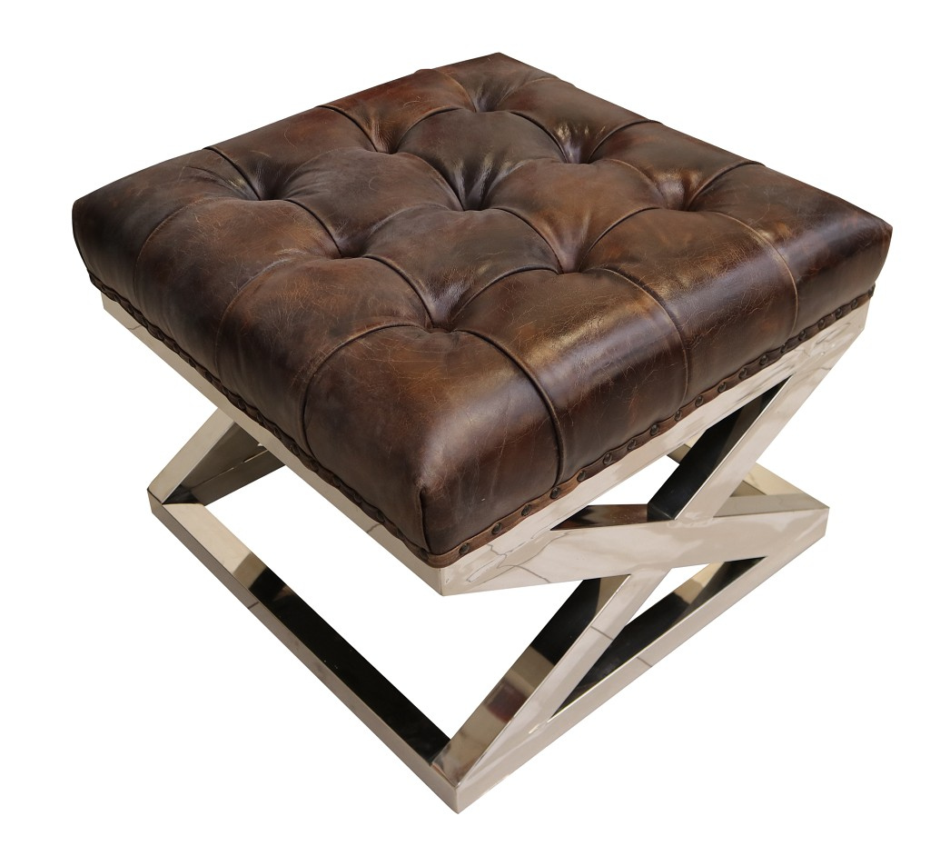 Picture of: Chesterfield Buttoned Distressed Vintage Tobacco Leather Metal Cross Footstool Ottoman Vintage Footstool By Designer Sofas For You