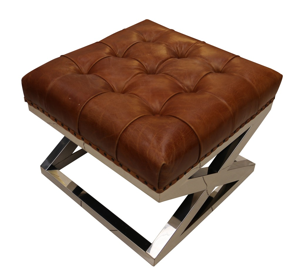 Prime Chesterfield Buttoned Distressed Vintage Tan Leather Metal Cross Footstool Ottoman Short Links Chair Design For Home Short Linksinfo