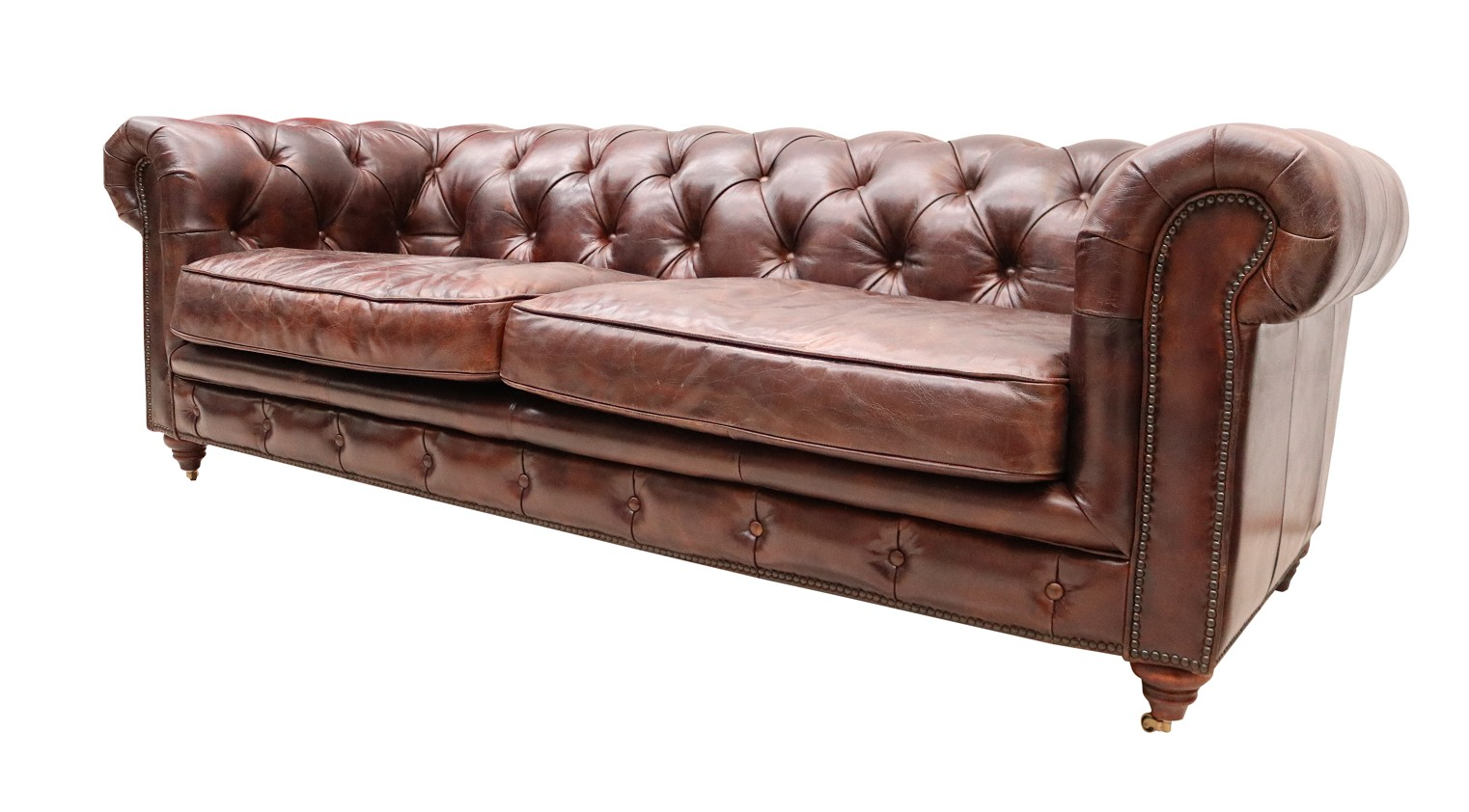 Vintage Distressed Tobacco Leather Chesterfield 3 Seater