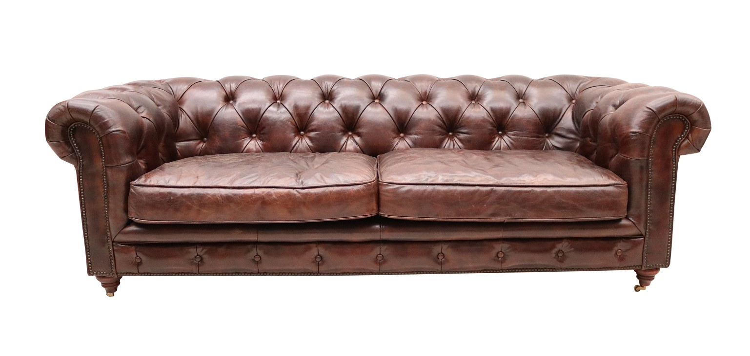 - Vintage Distressed Tobacco Leather Chesterfield 3 Seater Sofa