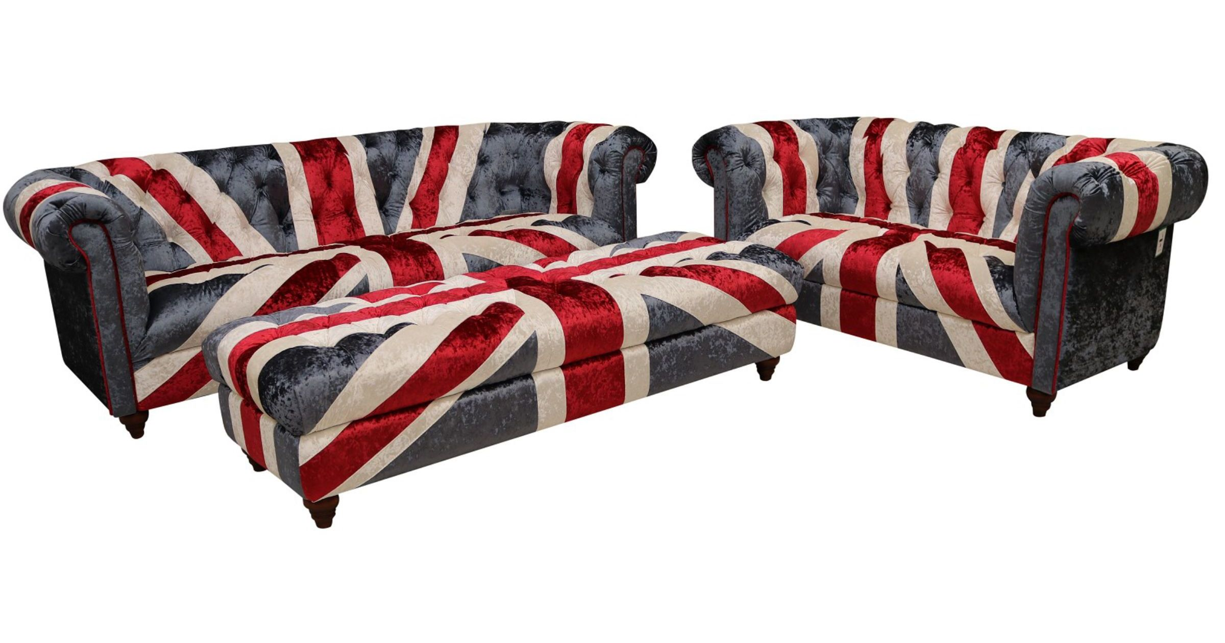 Picture of: Union Jack Chesterfield 3 2 Footstool Ottoman Velvet Sofa Set Vintage Furniture By Designer Sofas For You