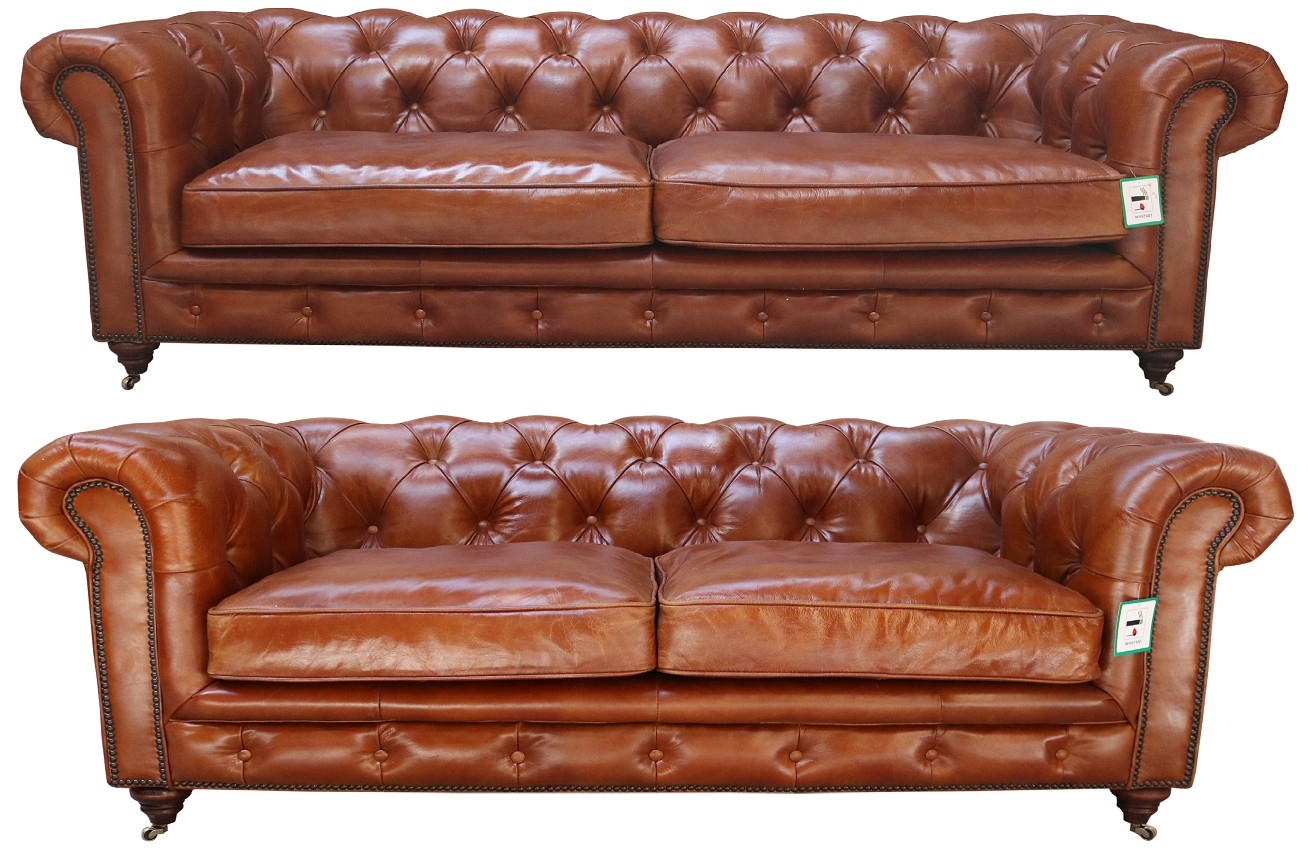 Vintage Distressed Tan Leather Chesterfield 3 2 Seater Sofa Suite