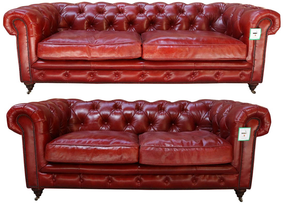 Picture of: Vintage 3 2 Distressed Rouge Red Leather Chesterfield Sofa Suite Vintage Furniture By Designer Sofas For You