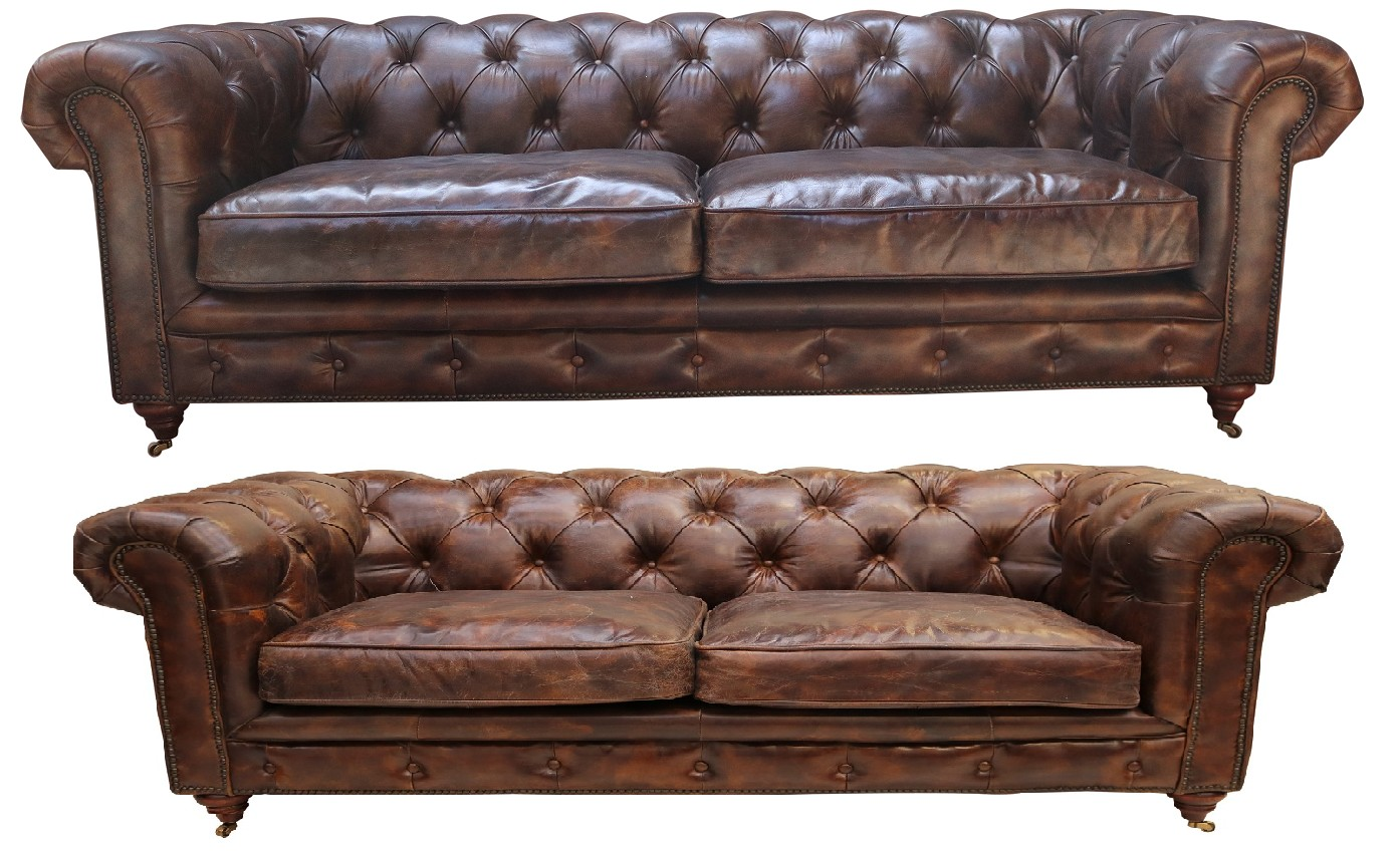- Vintage 3+2 Distressed Tobacco Leather Chesterfield Sofa Suite