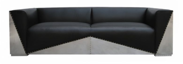 Gable Aluminium Vintage Distressed Leather Sofa