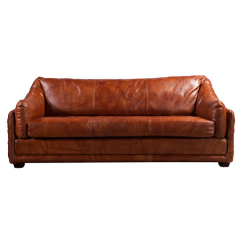 Hudson Vintage Retro 3 Seater Distressed Leather Settee Sofa