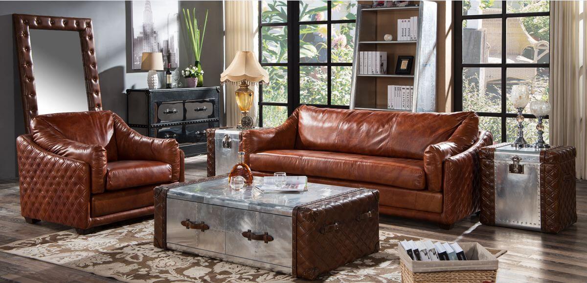 Hudson Vintage Retro Distressed Leather Settee Sofa Suite