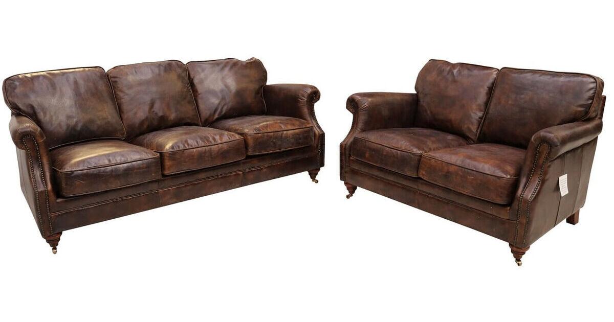 Luxury Vintage Distressed Leather 3 2 Seater Settee Sofa