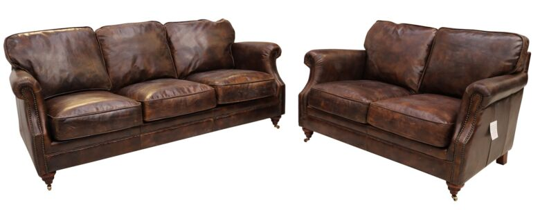Luxury Vintage Distressed Leather 3+2 Seater Settee Sofa Suite Tobacco Brown