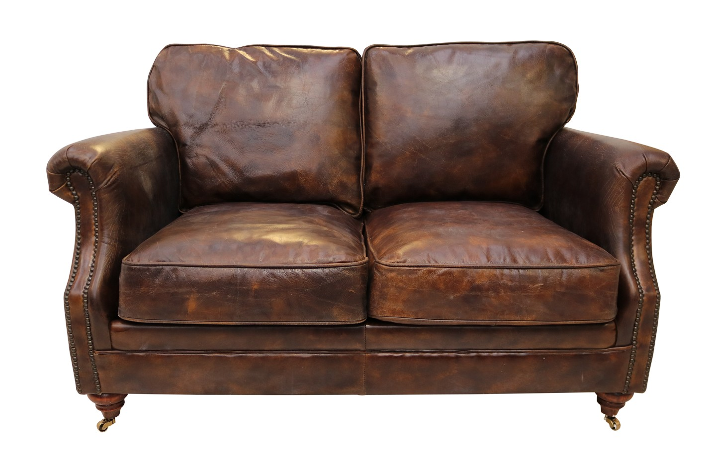 Luxury Vintage Distressed Leather 2 Seater Settee Sofa Tobacco Brown