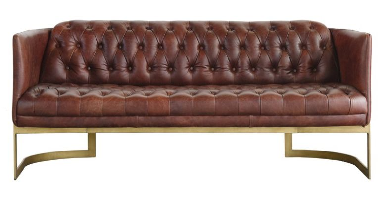 Metal Frame Chesterfield Buttoned 3 Seater Distressed Leather Sofa