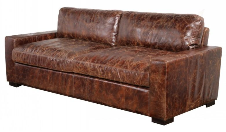 Montana Vintage Distressed Leather Settee Sofa