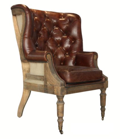 Open Back Deconstructed Distressed Leather Wing Chair