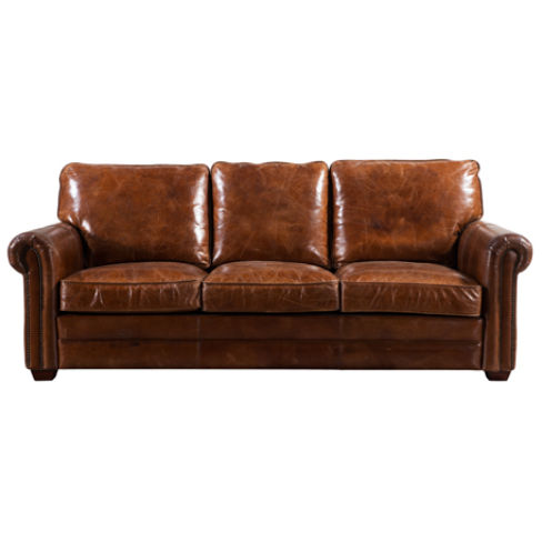 Sloane Vintage Retro Distressed Leather 3 Seater Sofa Settee