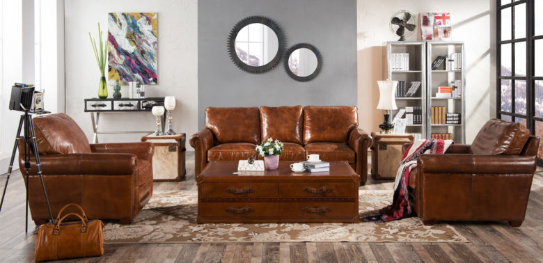 Sloane Vintage Retro Distressed Leather Settee Sofa Suite