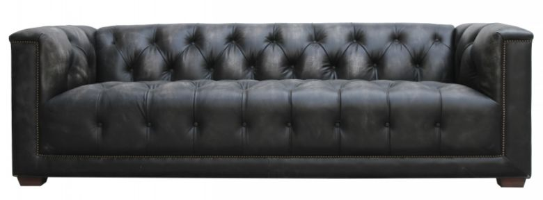 Spitfire Chesterfield 3 Seater Vintage Distressed Leather Aluminium Sofa