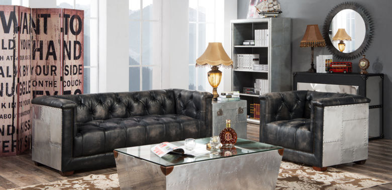 Spitfire Chesterfield Vintage Distressed Leather Aluminium Sofa Suite