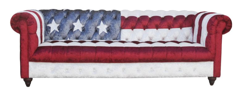 Stars And Stripes Chesterfield 3 Seater Velvet Sofa