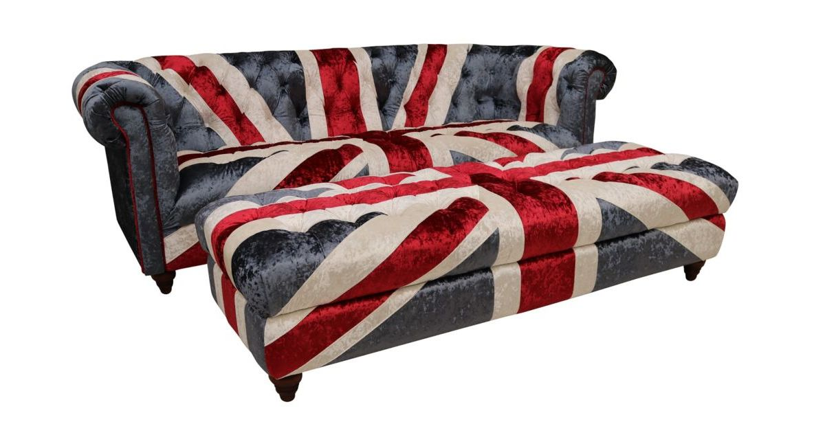 Union Jack Chesterfield 3 Seater Sofa With Matching