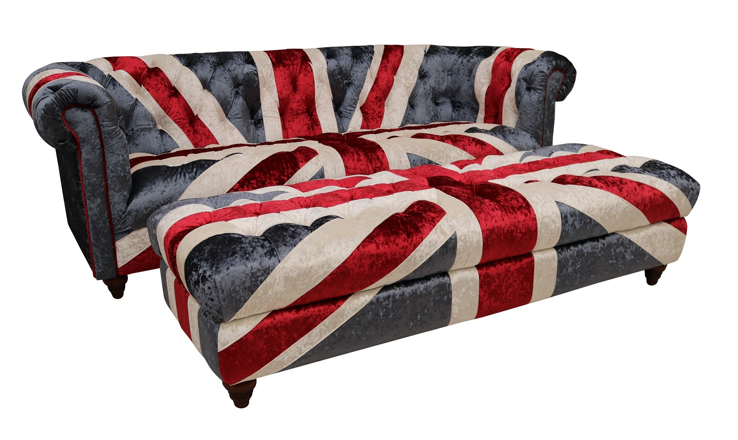 Picture of: Union Jack Chesterfield 3 Seater Sofa With Matching Ottoman Footstool In Plush Velvet Vintage Furniture By Designer Sofas For You