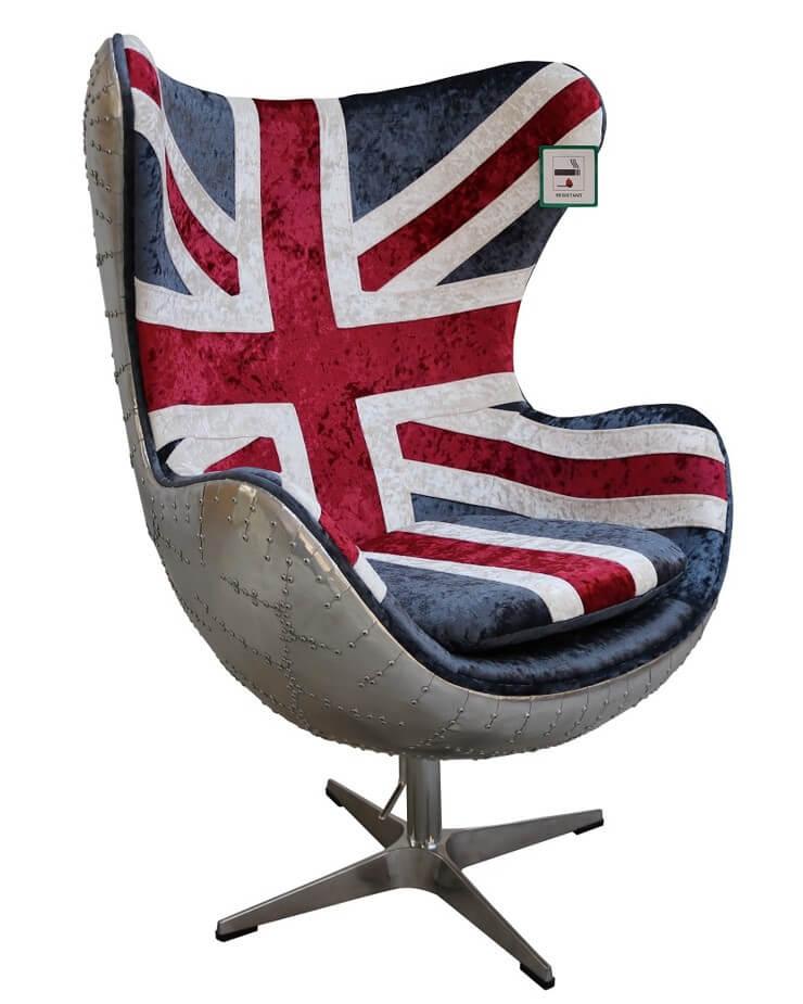 Magnificent Aviator Union Jack Retro Swivel Egg Chair Customarchery Wood Chair Design Ideas Customarcherynet