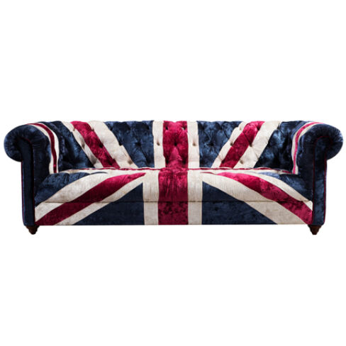 Union Jack Chesterfield 2 Seater Luxury Velvet Sofa