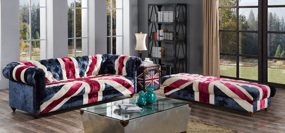 Union Jack Chesterfield Velvet Fabric Sofa Designer Sofas 4u