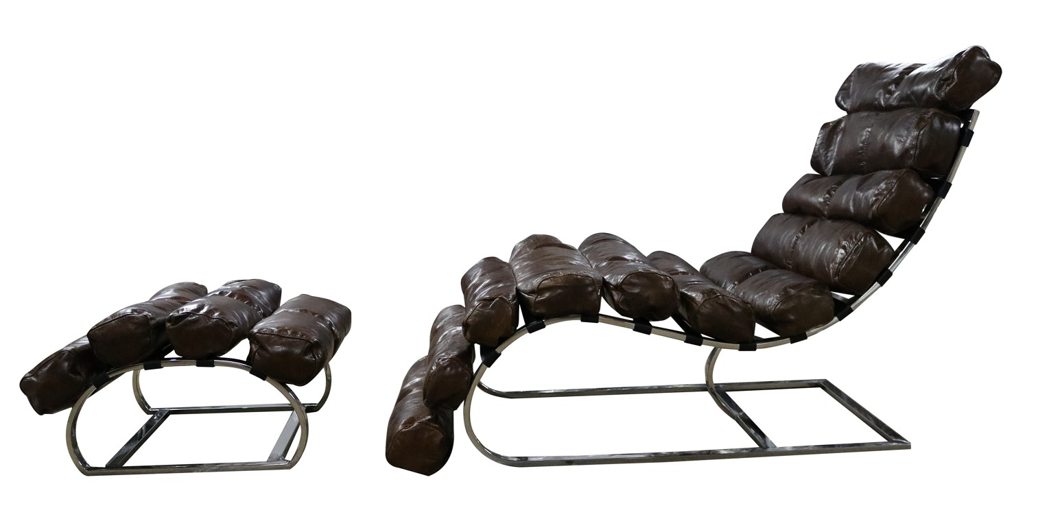 Vintage Brown Distressed Leather Chaise Lounge With Footstool Vintage Chairs By Desginer Sofas For You