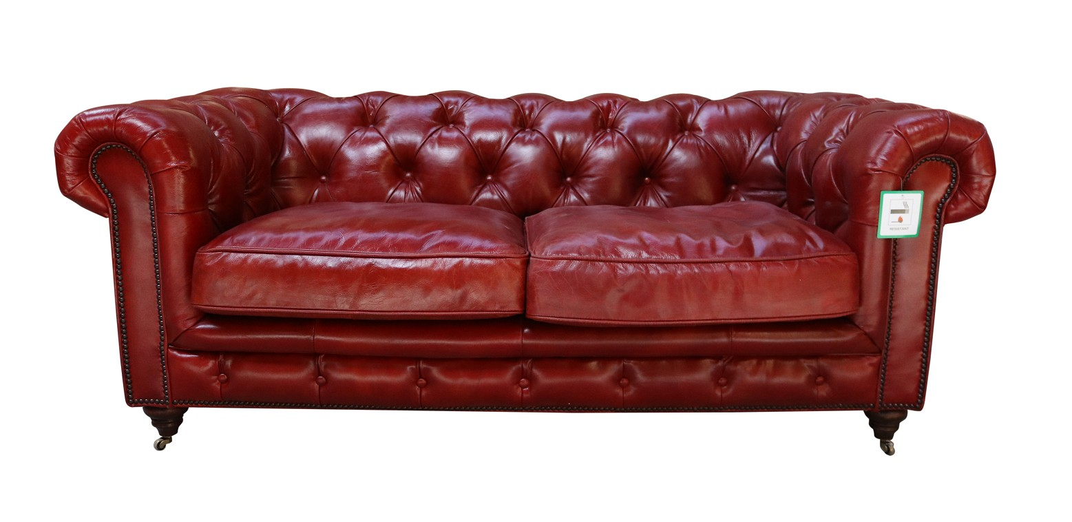 Vintage Distressed Rouge Red Leather Chesterfield 2 Seater Sofa