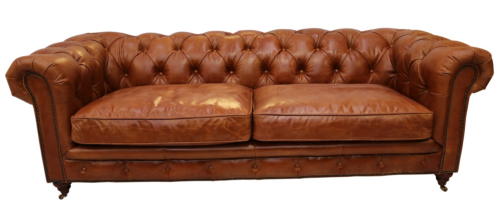 Vintage Distressed Tan Leather Chesterfield 3 Seater Sofa