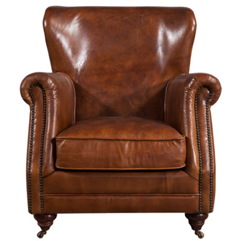 Vintage High Back Distressed Leather Armchair