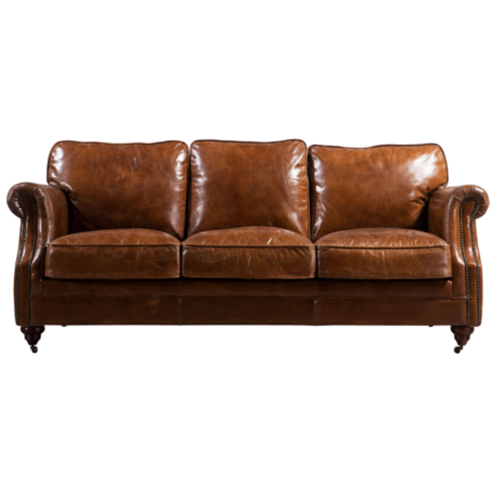 Luxury Vintage Distressed Leather 3 Seater Settee Sofa
