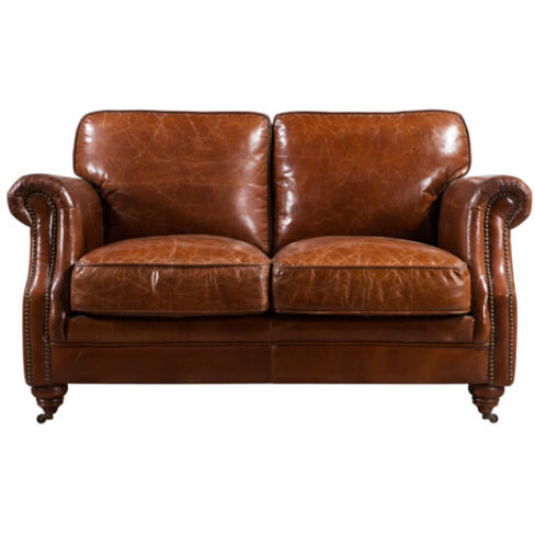 Luxury Vintage Distressed Leather 2 Seater Settee Sofa