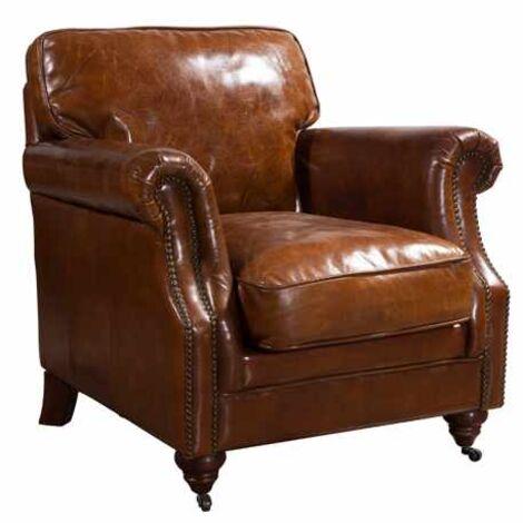 Luxury Vintage Distressed Leather Armchair