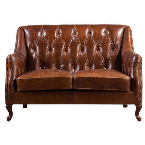 Vintage Distressed Leather Button & Stud 2 Seater Sofa