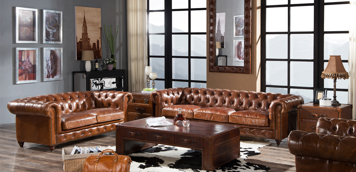Vintage Luxury Distressed Leather Chesterfield Sofa Suite