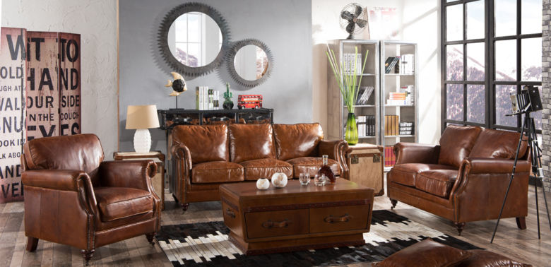 Luxury Vintage Distressed Leather Settee Sofa Suite