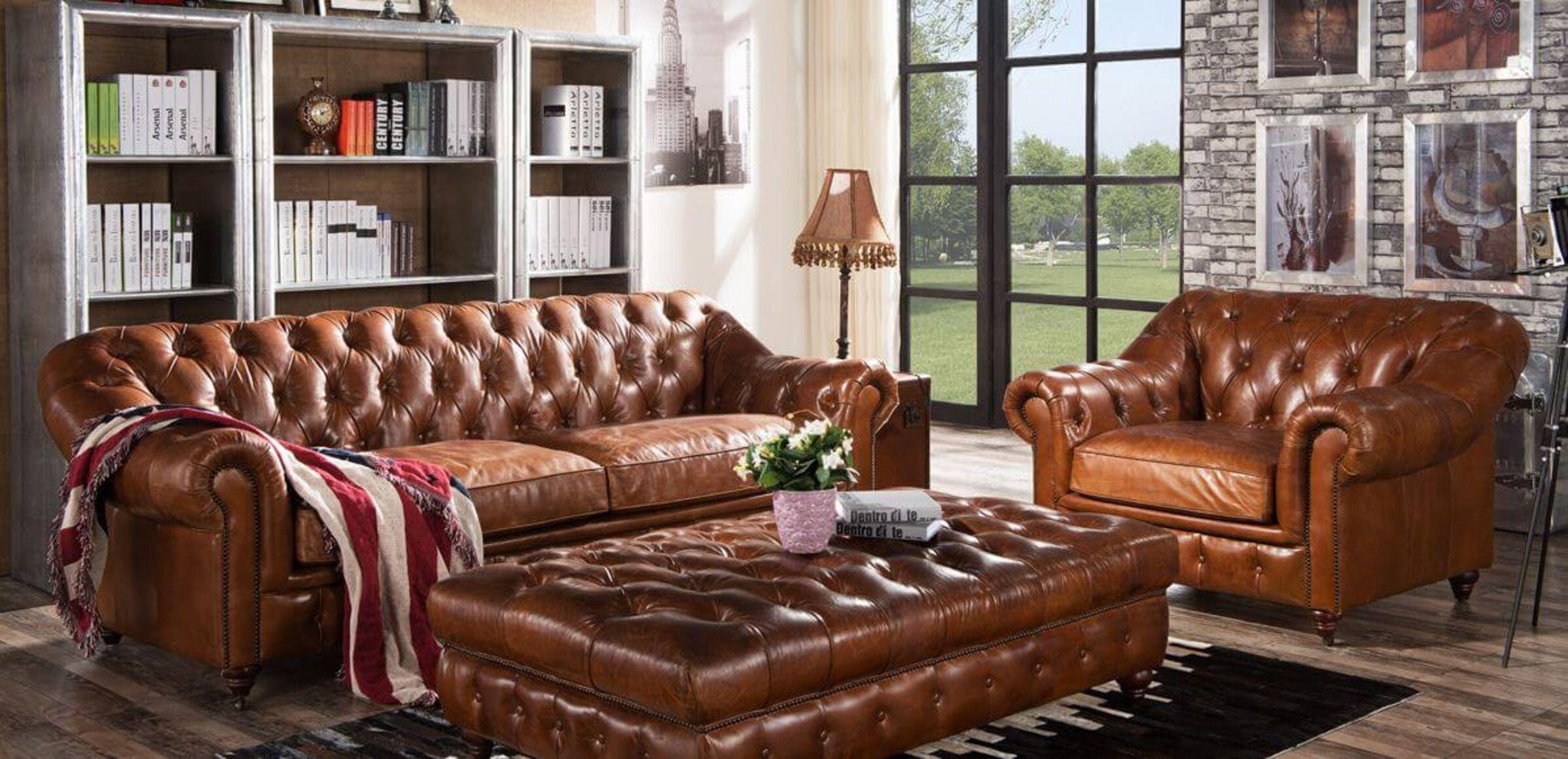 Wellington Chesterfield Vintage Distressed Leather Sofa ...