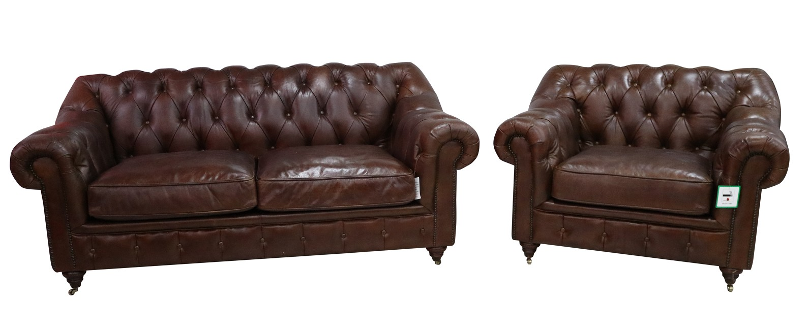 Wellington Chesterfield 2 1 Vintage Brown Distressed Leather Sofa Suite