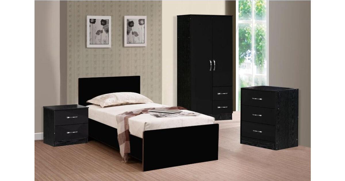 Marina 3 Piece Bedroom Set Black Gloss Black Ash