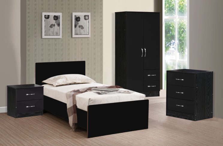 Marina 3 Piece Bedroom Set Black Gloss & Black Ash